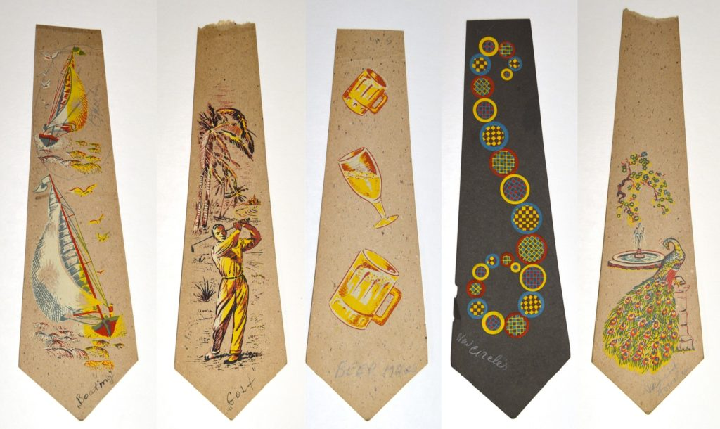 Five printed tie designs: sailboats, a golfer, beer glasses, abstract circles, and a peacock by a fountain