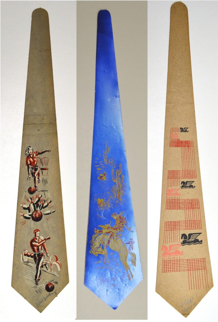 Three printed tie designs: a man and woman bowling, a furiously leaping horse on a blue background, and an abstract horse design.
