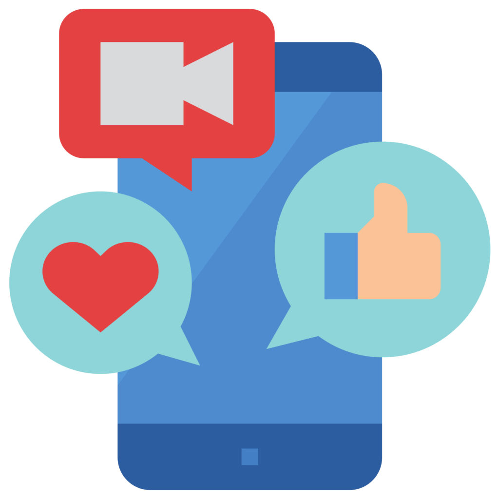Colorful illustration showing a smart phone with video camera, heart, and thumbs up icons coming out of it in word bubbles.
