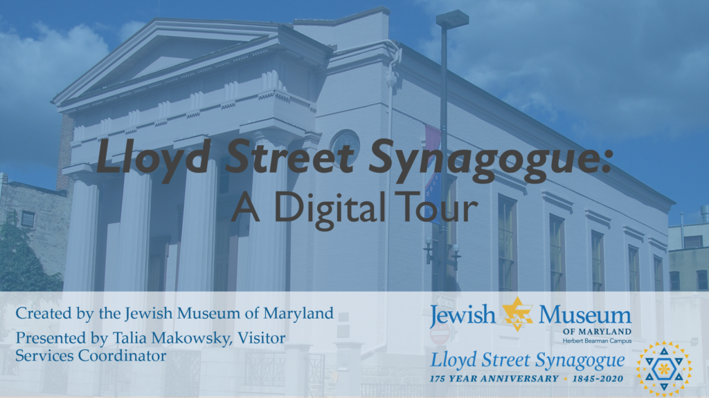 "A PowerPoint slide of the title of the digital tour, which says ""Lloyd Street Synagogue: A Digital Tour"" over an image of the Lloyd Street Syangogue"