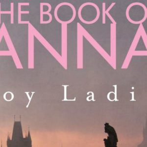 """Cropped image of the cover of """"The Book of Anna"""" showing the title and author on a sunset background. The tops of a few city buildings are just visible in the bottom of the image."""