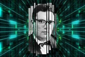 """Black and white headshot of a young Isaac Asimov set over a green """"techno"""" background"""