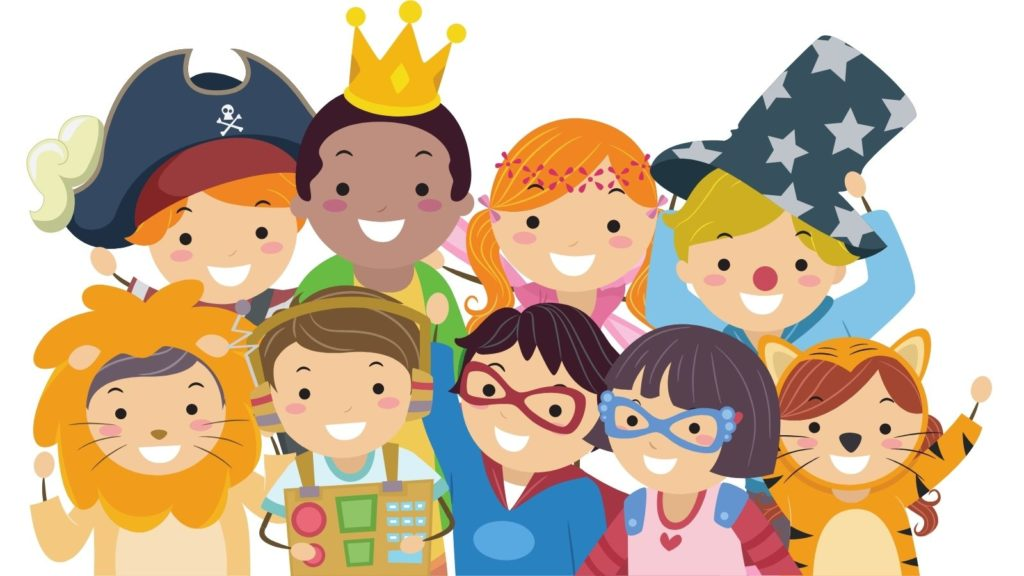 cartoon children wearing a variety of costumes