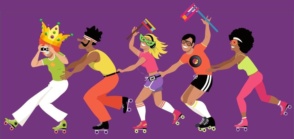 roller skaters in 70s attire holding purim groggers