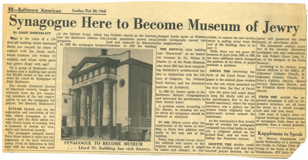 """Newspaper clipping that includes an image of the Lloyd Street Synagogue Façade with the caption """"Synagogue to become Museum … Lloyd St. building has rich history."""""""
