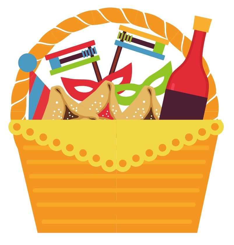 basket with hamentaschen (purim cookies), drink bottle, masks and groggers.