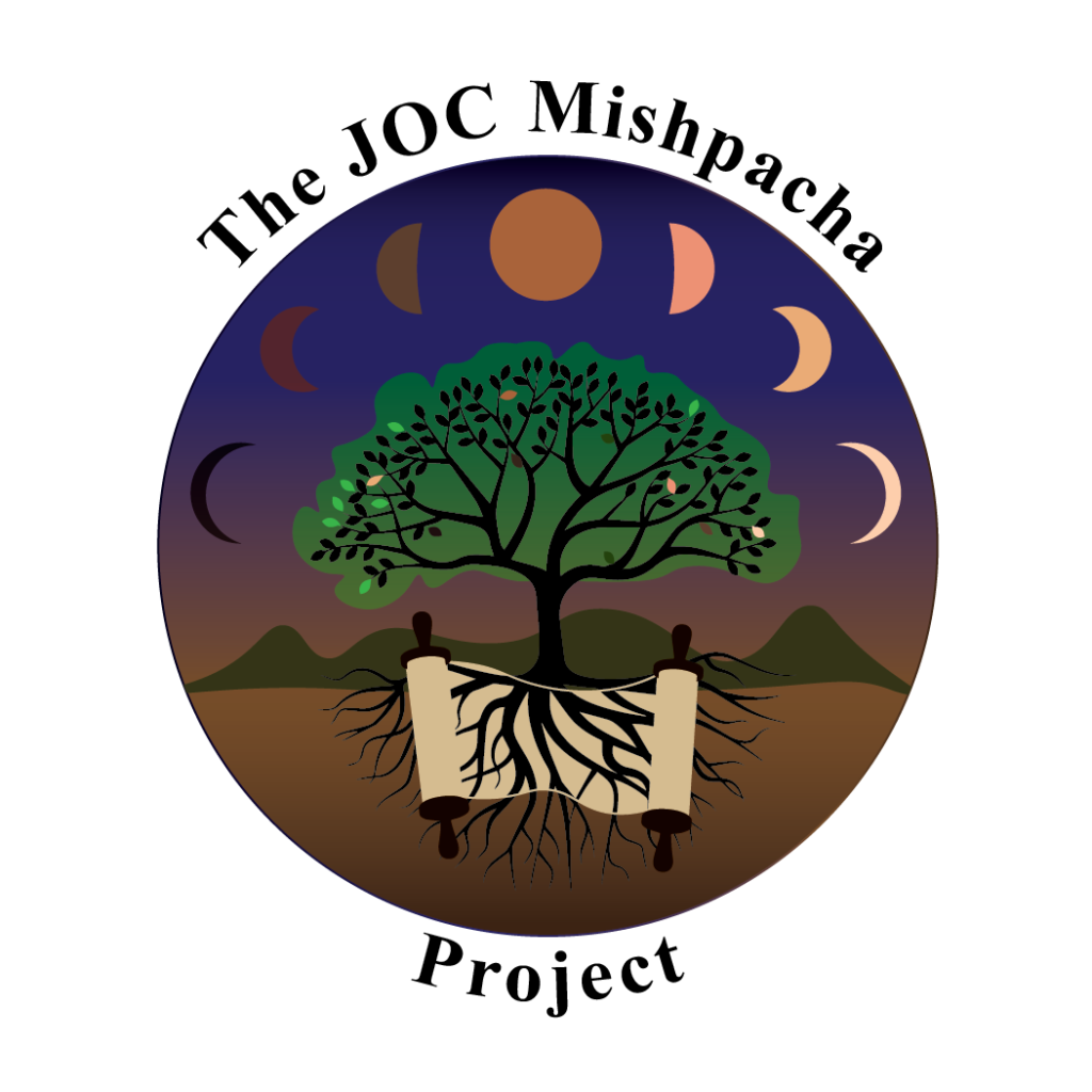 JOC Mishpacha Project Logo (tree with torah scroll in its roots and moon phases above).