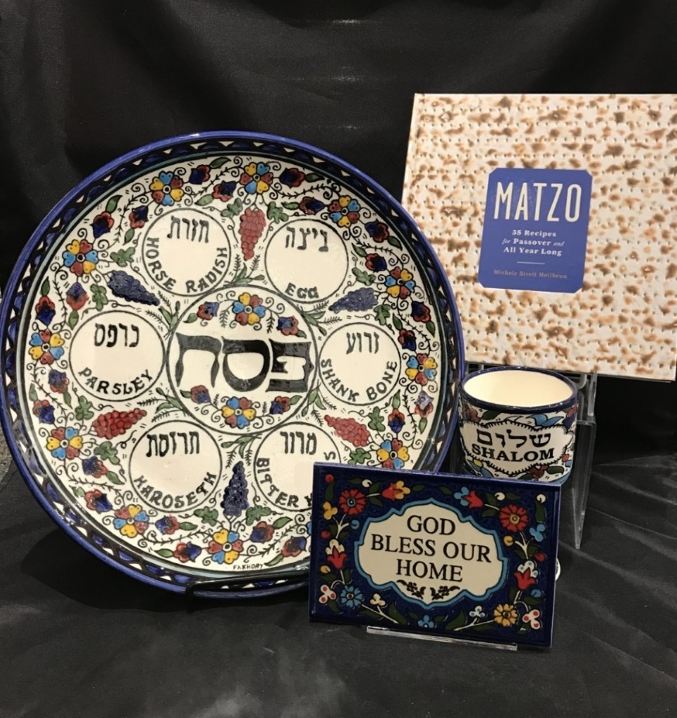 seder plate, elijah's cup, matzah, home decor plaque