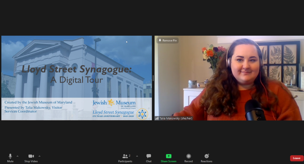 A screenshot of the digital tour, showing Talia Makowsky and the title slide of the presentation in a Zoom window.