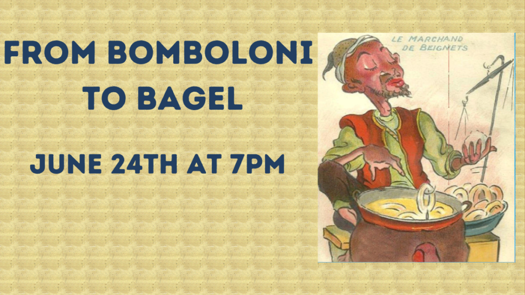 text from bomboloni to bagel next to an image of a man frying donuts.